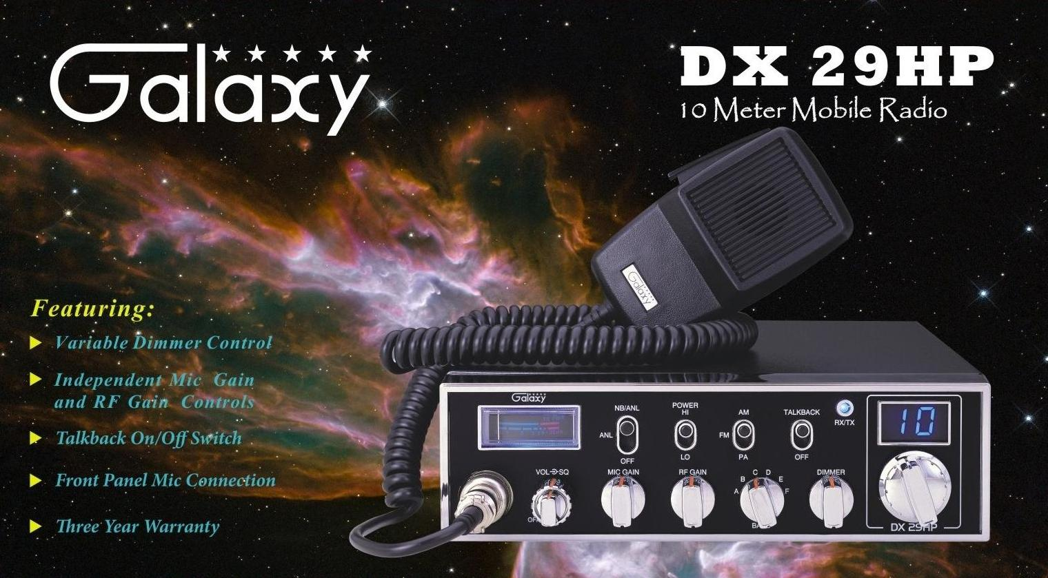 Galaxy DX 29HP Front of Box